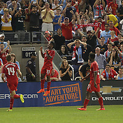 Raheem Sterling, Liverpool, celebrates his sides second goal during the Manchester City Vs Liverpool FC Guinness International Champions Cup match at Yankee Stadium, The Bronx, New York, USA. 30th July 2014. Photo Tim Clayton