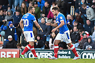 Portsmouth Players Celebrate after Portsmouth Midfielder, Gareth Evans (26) scored a goal 1-1 during the The FA Cup match between Portsmouth and Wycombe Wanderers at Fratton Park, Portsmouth, England on 5 November 2016. Photo by Adam Rivers.