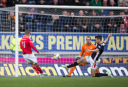 Brechin City's Robert Barr misses a chance. <br /> Falkirk 2 v 1 Brechin City, Scottish Cup fifth round game played today at The Falkirk Stadium.