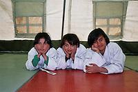 Norwegian judo trainers visiting Kabul, Afghanistan, as a part of tha Judo for fred (Judo for peace) program....- ....Norske judotrenere på besøk i Kabul, Afghanistan, ifm Judo for fred (JFF)....- ....The grils are training judo in a tent borrowed from UN....- ....Jentene trener i et telt som er utlånt fra FN