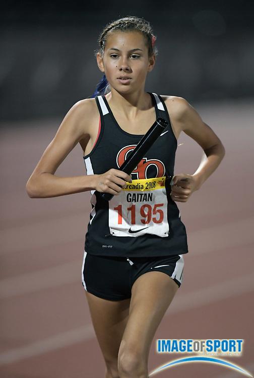 Tori Gaitan runs the anchor leg on the Great Oak girls 4 x 1,600m relay that won in 20:09.46 during the 51st Arcadia Invitational in Arcadia, Calif., Friday, April 6, 2018.