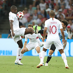 SOCHI, June 30, 2018  William Carvalho (1st L) of Portugal vies with Nahitan Nandez (1st R) of Uruguay during the 2018 FIFA World Cup round of 16 match between Uruguay and Portugal in Sochi, Russia, June 30, 2018. (Credit Image: © Fei Maohua/Xinhua via ZUMA Wire)