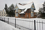 Former Victorian park-keepers house in Dulwich Park, south London during mid-winter snow.