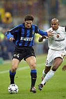 Milano 26/10/2003 <br />Inter Roma 0-0 <br />Javier Zanetti (Inter) e Olivier Dacourt (Roma)<br />Foto Andrea Staccioli / Graffiti