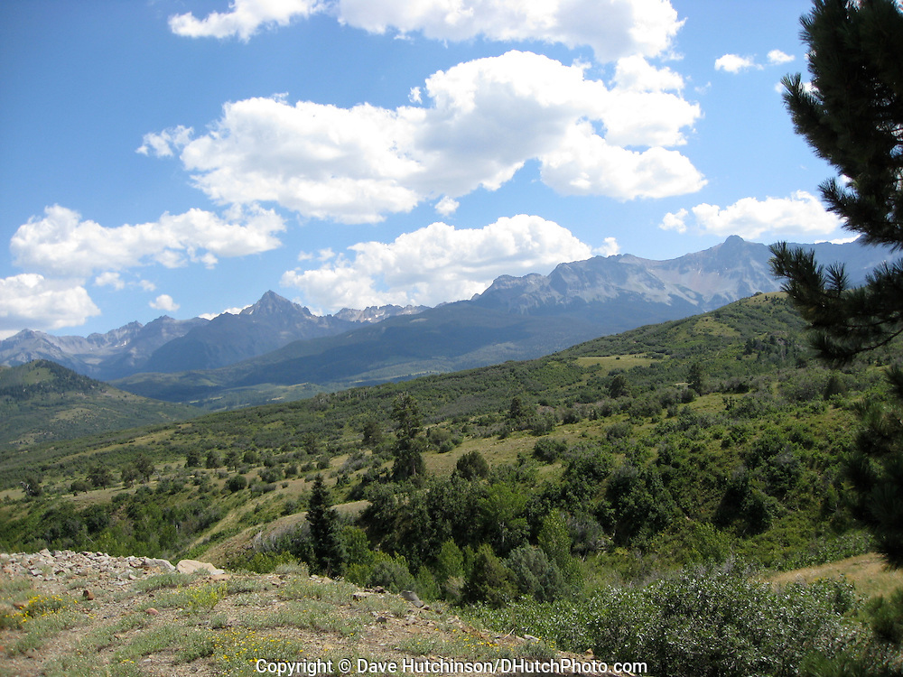 USA: Colorado: Ouray/San Miguel Counties: Dallas Divide. The Dallas Divide, (elevation 8,983 ft/2,738 m) near Ridgeway, Colorado is between the San Juan Mountains and the Uncompahgre Plateau.