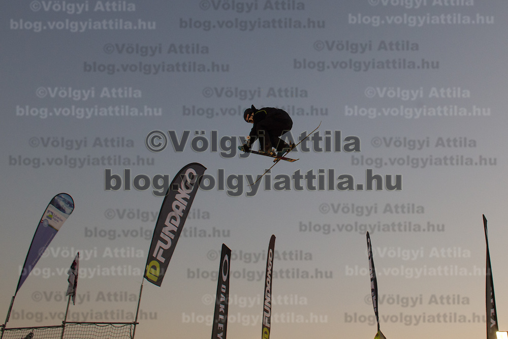Jonas Hunziker from Switzerland performs his trick during the freestyle skiing competition held on the 35 meters high artificial ski jumping ramp on the Monster Energy Fridge Festival in central Budapest, Hungary on November 12, 2011. ATTILA VOLGYI