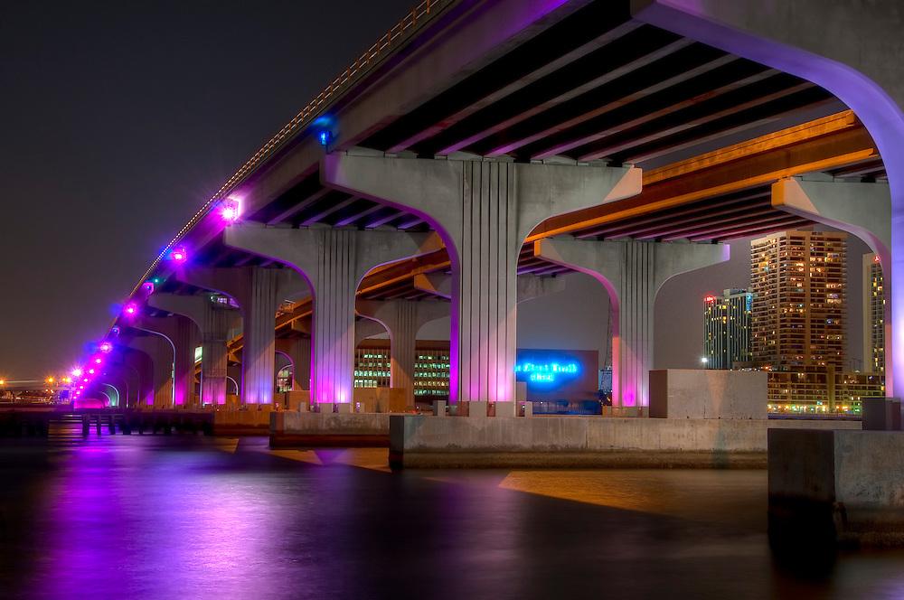 View of bridge in Biscayne bay, Miami. Florida.