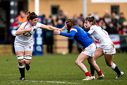 Sarah Hunter of England Women takes on Pauline Bourdon of France Women - Mandatory by-line: Robbie Stephenson/JMP - 10/02/2019 - RUGBY - Castle Park - Doncaster, England - England Women v France Women - Women's Six Nations