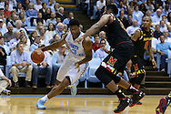 01 December 2015: North Carolina's Isaiah Hicks (4) and Maryland's Diamond Stone (33). The University of North Carolina Tar Heels hosted the University of Maryland Terrapins at the Dean E. Smith Center in Chapel Hill, North Carolina in a 2015-16 NCAA Division I Men's Basketball game. UNC won the game 89-81.