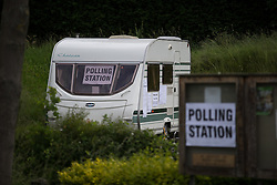 © Licensed to London News Pictures . 05/06/2014 . Newark , Nottinghamshire , UK . A polling station in a caravan in a pub car park in Hockerton as today (Thursday 5th June 2014) voting takes place in the Newark by-election , following the resignation of incumbent Patrick Mercer . Photo credit : Joel Goodman/LNP