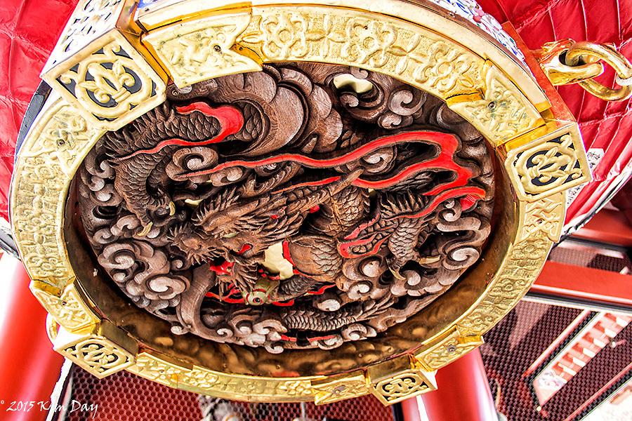 Dragon inside paper lantern at Thunder Gate<br /> Kaminarimon - Senso-ji, Asakusa, Tokyo<br /> May 2015