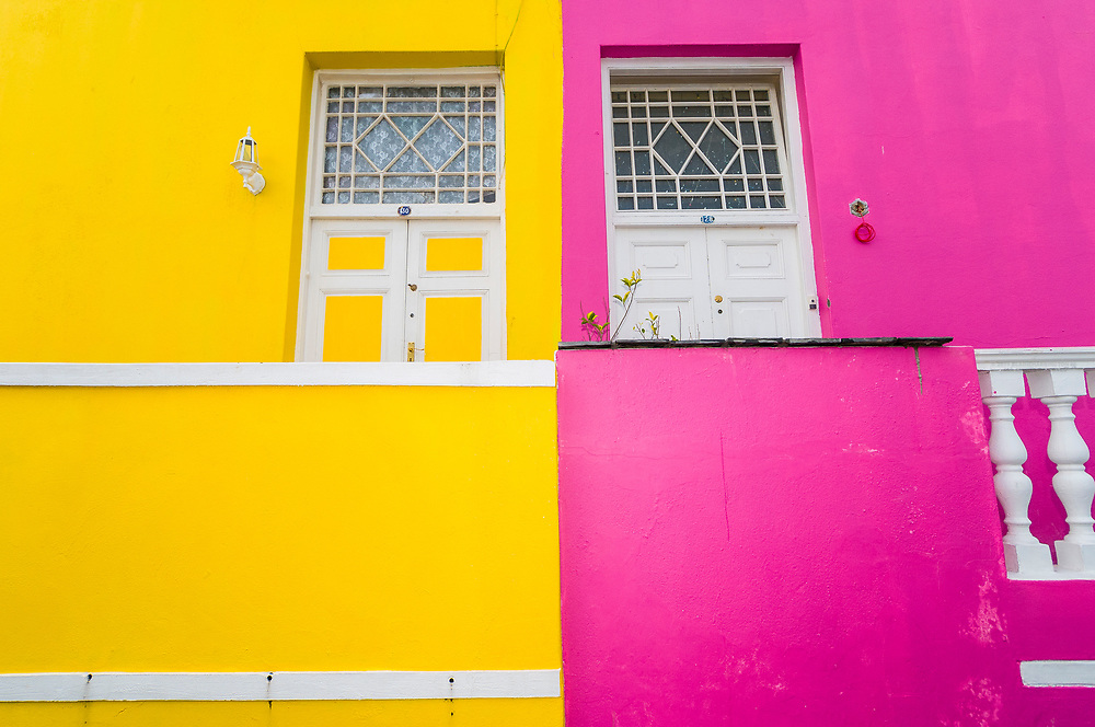 Colorful houses on Chiappini Street in Bakaap section (Muslim Quarter), Cape Town, South Africa