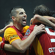 Galatasaray's Milan Baros celebrate victory during their Turkish superleague soccer derby match Galatasaray between Fenerbahce at the TT Arena in Istanbul Turkey on Friday, 18 March 2011. Photo by TURKPIX