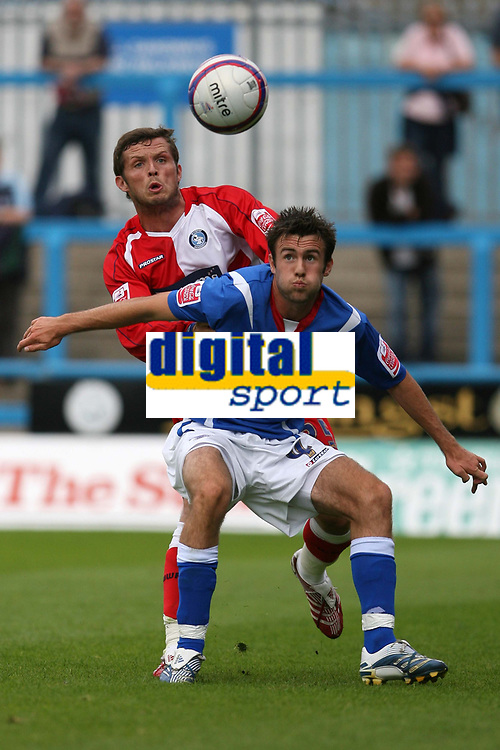Photo: Pete Lorence.<br />Chesterfield Town v Wycombe Wanderers. Coca Cola League 2. 01/09/2007.<br />Steve Fletcher sheilds the ball from Sam Stockley.