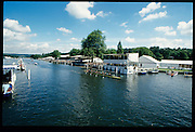 Henley, GREAT BRITAIN,   GV, General View from the photographers box at the finishing line and beyond to the Stewards Enclousure and Henley Reach, River Thames, Henley Royal Regatta Headquarters, 2-6 July 1997, Henley, ENGLAND [Mandatory Credit, Peter Spurrier/Intersport-images] 1997 Henley Royal Regatta, Henley, Great Britain