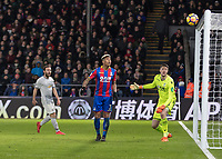 Football - 2017 / 2018 Premier League - Crystal Palace vs. Manchester United<br /> <br /> Wayne Hennessey (Crystal Palace) and Patrick van Aanholt (Crystal Palace) can only watch as the ball loops and comes off the crossbar at Selhurst Park.<br /> <br /> COLORSPORT/DANIEL BEARHAM