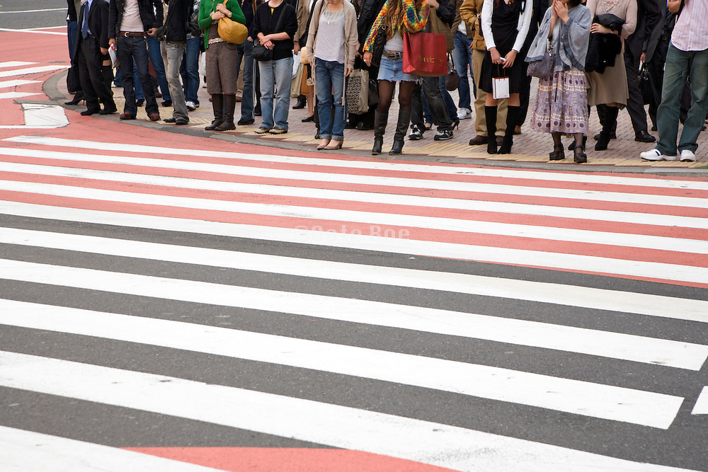 crowd in the Shibuya district of Tokyo waiting to cross a zebra pad