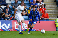 Coventry City midfielder Jordan Shipley (26) and Gillingham FC midfielder Billy Bingham (16) during the EFL Sky Bet League 1 match between Gillingham and Coventry City at the MEMS Priestfield Stadium, Gillingham, England on 25 August 2018.