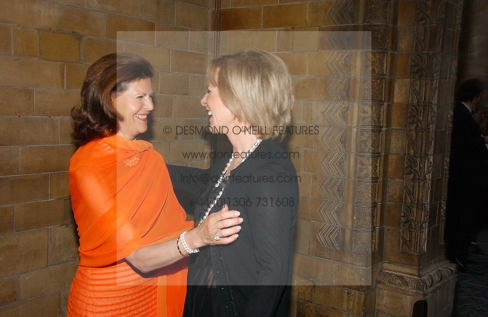 Left to right, HM QUEEN SILVIA OF SWEDEN and PRINCESS ANNI-FRID REUS VON PLAUEN she was Frida from pop group ABBA  at a gala dinner in the presence of HM Quenn Silvia of Sweden and HM Queen Noor of Jordan in aid of the charity Mentor held at the Natural History Museum, Cromwell Road, London on 23rd May 2006.<br /><br />NON EXCLUSIVE - WORLD RIGHTS