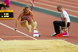 London, August 11 2017 . Lauma Grīva, Latvia, in the women's long jump final on day eight of the IAAF London 2017 world Championships at the London Stadium. © Paul Davey.