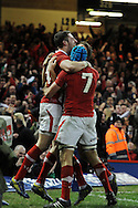 Alex Cuthbert of Wales (l) celebrates after he scores his sides 2nd try.  RBS Six nations championship 2013, Wales v England at the Millennium stadium in Cardiff , South Wales on Saturday 16th March 2013. pic by Andrew Orchard, Andrew Orchard sports photography,