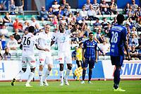 """Fotball , Tippeligaen , Eliteserien <br /> Tirsdag 30. August , 20150830<br /> Stabæk - Odd <br /> Odds Chukwuma """"Bentley"""" Akabueze, Espen Ruud og Olivier Occean jubler for sitt mål til 1-0, i bakgrunnen stabæks Yassine El Ghannasy og i forgrunnen Luc Kassi<br /> Foto: Sjur Stølen / Digitalsport"""