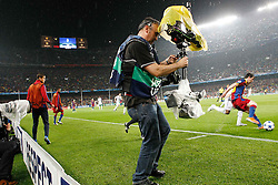 03-05-2011 VOETBAL: SEMI FINAL CL  FC BARCELONA - REAL MADRID: BARCELONA<br /> Tv  operator handles a steadycam during UEFA Champions League match<br /> *** NETHERLANDS ONLY***<br /> ©2011-FH.nl- EXPA/ Alterphotos/ Acero