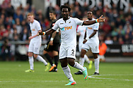 Wilfried Bony of Swansea city looks on. Premier league match, Swansea city v Newcastle Utd at the Liberty Stadium in Swansea, South Wales on Sunday 10th September 2017.<br /> pic by  Andrew Orchard, Andrew Orchard sports photography.