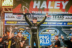 November 2, 2018 - Fort Worth, TX, U.S. - FORT WORTH, TX - NOVEMBER 02: Camping World Truck Series driver Justin Haley (24) celebrates in victory lane after winning the Jag Metals 350 on November 02, 2018 at Texas Motor Speedway in Fort Worth, Texas. (Photo by Matthew Pearce/Icon Sportswire) (Credit Image: © Matthew Pearce/Icon SMI via ZUMA Press)