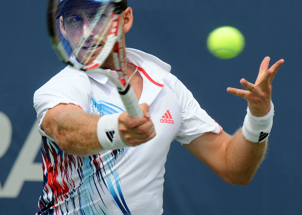 The CT Tennis Center in New Haven is the site for the New Haven Open at Yale. It is also the site for the 2012 US Open National Playoffs. Nick Meister of the US lost. Mara Lavitt/New Haven Register<br /> <br /> 8/120/12