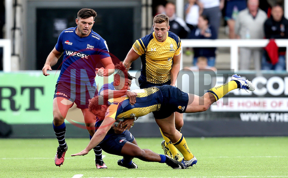 Jaike Carter of Worcester Warriors is tackled by Paolo Odogwu of Sale Sharks - Mandatory by-line: Robbie Stephenson/JMP - 30/07/2016 - RUGBY - Kingston Park - Newcastle, England - Worcester Warriors v Sale Sharks - Singha Premiership 7s