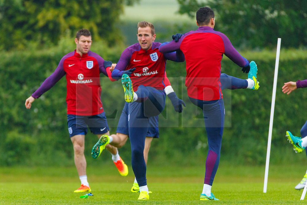 © Licensed to London News Pictures. 01/06/2016. London, UK. England's JAMES MILNER and HARRY KANE training with England team at Watford Training Ground on Wednesday, 1 June 2016, ahead of the Euro 2016 in France. Photo credit: Tolga Akmen/LNP