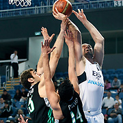Efes Pilsen's Nikola VUJCIC (R) during their Turkish Basketball league match Efes Pilsen between Bornova Belediyespor at the Sinan Erdem Arena in Istanbul Turkey on Saturday 16 April 2011. Photo by TURKPIX