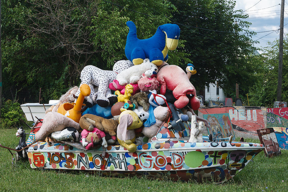 Noah's ark (boat filled with stuffed animals).  Heidelberg Project, Detroit, Michigan.  The Heidelberg Project is a grass roots project started by artist Tyree Guyton that uses art to help revitalize the embattled neighborhood.  Each year, over 275,000 people visit the project .  For more information, go to www.heidelberg.org