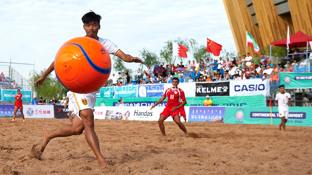ORDOS, CHINA - AUGUST 24:  Continental Beach Soccer Tournament Ordos at Ordos Municipal Sports Center on August 24, 2016 in Ordos, China (Photo by Manuel Queimadelos)