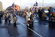 Tuesday 29th January 2013: Guizer Jarl, Stephen Grant, leads his Jarl Squad towards the town centre during Up Helly Aa 2013 in Lerwick, Shetland. Copyright 2013 Peter Horrell