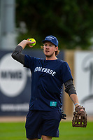 KELOWNA, CANADA - JUNE 28: NHL Nashville Predators player Ryan Johansen warms up prior to the opening charity game of the Home Base Slo-Pitch Tournament fundraiser for the Kelowna General Hospital Foundation JoeAnna's House on June 28, 2019 at Elk's Stadium in Kelowna, British Columbia, Canada.  (Photo by Marissa Baecker/Shoot the Breeze)