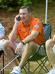 Florida head football coach Dan Mullen during the Chick-fil-A Peach Bowl Challenge Closest to the Pin Skills Competition at the Ritz Carlton Reynolds, Lake Oconee, on Monday, April 29, 2019, in Greensboro, GA. (Dale Zanine via Abell Images for Chick-fil-A Peach Bowl Challenge)