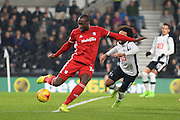 Cardiff City midfielder Kadeem Harris (24)  clears the ball with Derby County midfielder Ikechi Anya (8) closing in during the EFL Sky Bet Championship match between Derby County and Cardiff City at the Pride Park, Derby, England on 14 February 2017. Photo by Jon Hobley.