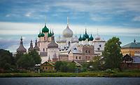 Aerial view of Rostov Kremlin fortified towers, Russia