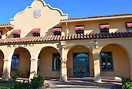 The restored historic Kelso Union Pacific Railroad Station in the Mojave Desert at Kelso, California.