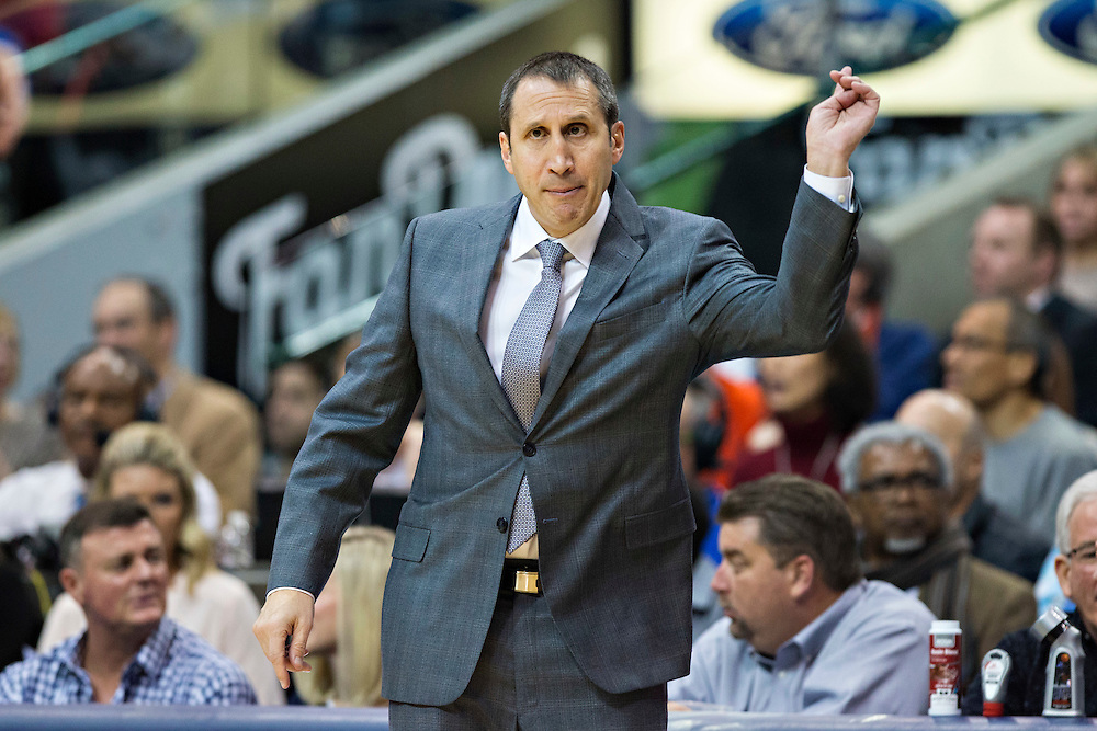 DALLAS, TX - JANUARY 12:  Head Coach David Blatt of the Cleveland Cavaliers signals to his team during a game against the Dallas Mavericks at American Airlines Center on January 12, 2016 in Dallas, Texas.  NOTE TO USER: User expressly acknowledges and agrees that, by downloading and or using this photograph, User is consenting to the terms and conditions of the Getty Images License Agreement.  The Cavaliers defeated the Mavericks 110-107.  (Photo by Wesley Hitt/Getty Images) *** Local Caption *** David Blatt