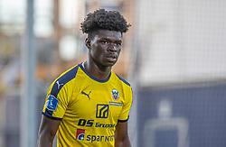 Emmanuel Sabbi (Hobro IK) under kampen i 3F Superligaen mellem Lyngby Boldklub og Hobro IK den 20. juli 2020 på Lyngby Stadion (Foto: Claus Birch).