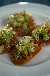 Detail of trout tostadas, an entree at Cala, the first U.S. restaurant from Mexican chef Gabriela Camara, Monday, April 4, 2016, in San Francisco, Calif. (Photo by D. Ross Cameron)