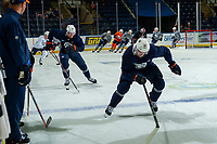 KELOWNA, BC - SEPTEMBER 23:  James Neal #18 of the Edmonton Oilers warms up prior to practice at Prospera Place on September 23, 2019 in Kelowna, Canada. (Photo by Marissa Baecker/Shoot the Breeze)