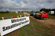 The entrance to Smallfield Raceway seen as competitors enter for the race meeting at Smallfield Raceway, Surrey, UK on the 10th of July 2011 (photo by Andrew Tobin/SLIK images)