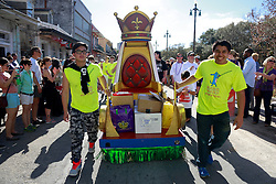 08 Feb 2015. New Orleans, Louisiana.<br /> Mardi Gras. Missing the King, The Mystic Krewe of Barkus takes to the streets of the French Quarter with the theme 'Bark Wars: Return of the K-9.' Barkus is the only officially licensed Mardi Gras krewe by and for canines. <br /> Photo; Charlie Varley/varleypix.com