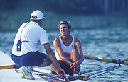 Barcelona Olympic Games 1992<br /> Olympic Regatta - Lake Banyoles<br /> CAN W1X. Silken Laumann the boating dock with her coach, Mike SPRACKLEN, {Mandatory Credit: © Peter Spurrier/Intersport Images]