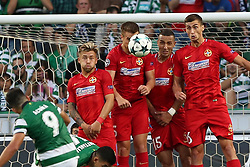 August 15, 2017 - Lisbon, Portugal - Steaua's defenders (L-R) Catalin Golofca, Mihai Pintilii, Marko Momcilovic and Ionut Larie react during the UEFA Champions League play-offs first leg football match between Sporting CP and FC Steaua Bucuresti at the Alvalade stadium in Lisbon, Portugal on August 15, 2017. (Credit Image: © Pedro Fiuza/NurPhoto via ZUMA Press)