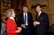 Princess George Galitzine, Andrew Cowley and Andrew della Casa, 10th anniversary of the Prince George Galitzine memorial library in St. Petersburg, Travellers club, 14 April 2004. ONE TIME USE ONLY - DO NOT ARCHIVE  © Copyright Photograph by Dafydd Jones 66 Stockwell Park Rd. London SW9 0DA Tel 020 7733 0108 www.dafjones.com